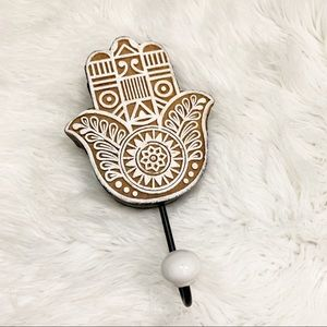 Other - Wooden Hamsa Hand Wall Hook Brown White Boho Yoga